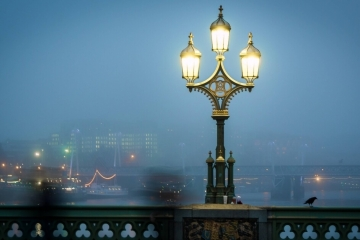 London at night in the fog