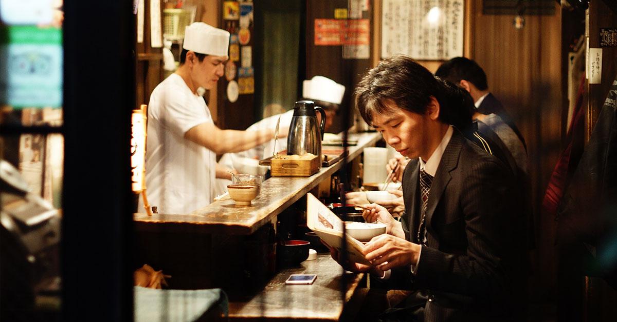 Eating Japanese food