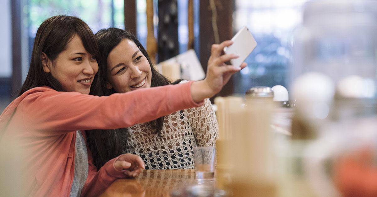 Japanese Girls taking a selfie
