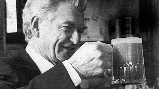 Bob Hawke liked a beer. Still, it's not as if he was running the country. Oh.
