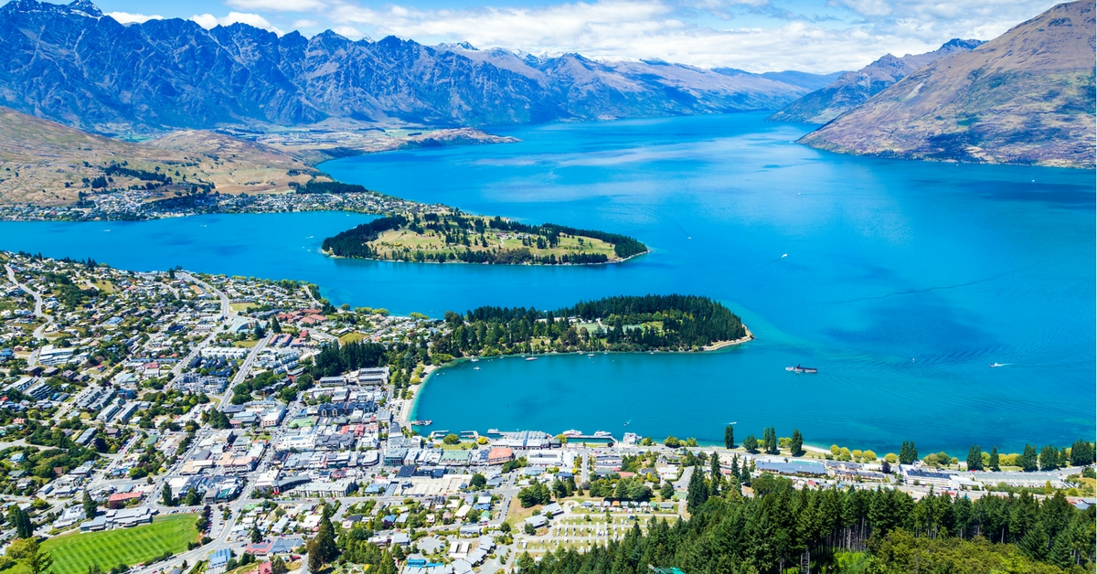 Queenstown New Zealand city view water aerial mountains