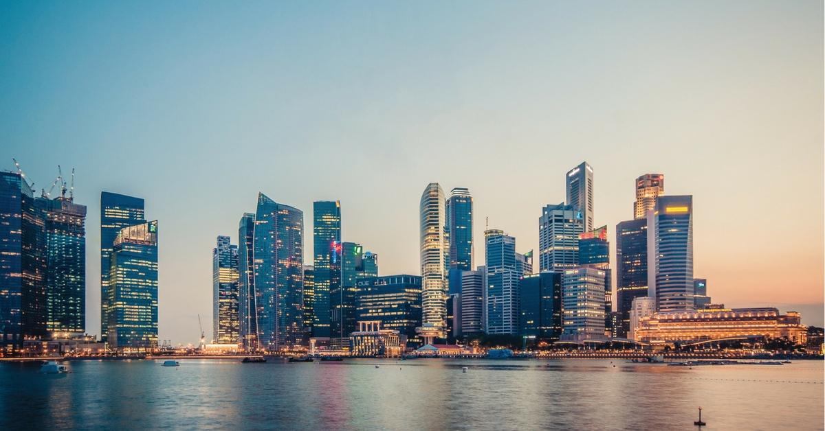 downtown skyline singapore sunset marina bay